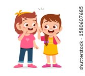 happy cute kids girls talk... | Shutterstock .eps vector #1580607685