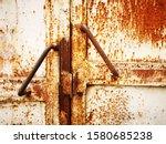 Two Rusty Iron Handles On White ...