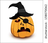 very angry pirate pumpkin for... | Shutterstock .eps vector #158070062