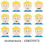 boy expressions | Shutterstock .eps vector #158070572