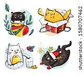 Christmas Postcard With Cute...