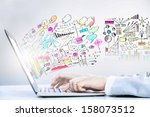 close up image of laptop and... | Shutterstock . vector #158073512