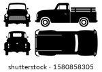 vintage pickup truck silhouette ... | Shutterstock .eps vector #1580858305