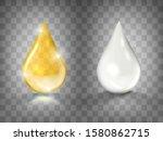 gold oil and white cream drops... | Shutterstock .eps vector #1580862715
