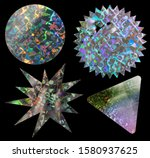 Small photo of cool metallic holo stickers on black with scratches and cuts, sticky holographic iridescent color foil tapes or snips for your design poster.