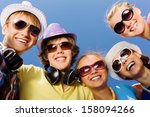 group of young and happy people ... | Shutterstock . vector #158094266