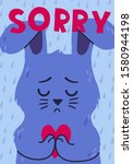 poster with sad rabbit holding... | Shutterstock .eps vector #1580944198