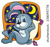 bunny on a bed on a white... | Shutterstock .eps vector #158095778
