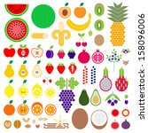 fruit set | Shutterstock .eps vector #158096006