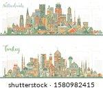 netherlands and turkey skyline...   Shutterstock . vector #1580982415