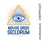 all seeing eye of god in sacred ... | Shutterstock .eps vector #1580995225