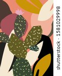 abstract design with cactus and ... | Shutterstock .eps vector #1581029998