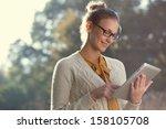 closeup of happy woman in... | Shutterstock . vector #158105708