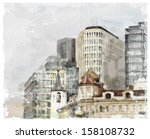 watercolor illustration of city ... | Shutterstock .eps vector #158108732