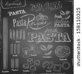 set of various pasta elements... | Shutterstock .eps vector #158110325