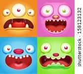 monster faces   Shutterstock .eps vector #158123132