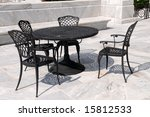Marble Patio With Wrought Iron...