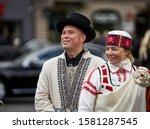Riga  latvia   2019 man and...