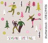 seasons greetings print design | Shutterstock .eps vector #158129456