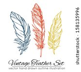 vintage feather set isolated on ... | Shutterstock .eps vector #158135996