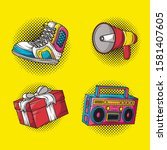 set icons pop art style vector... | Shutterstock .eps vector #1581407605