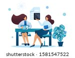 young woman doctor advises the... | Shutterstock .eps vector #1581547522