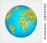world map isolated on white... | Shutterstock .eps vector #1581565402
