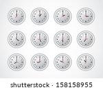 day on the white clocks | Shutterstock .eps vector #158158955
