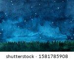 Grass Meadow With Night Sky...