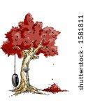 Rake Resting On A Tree In Autumn