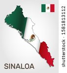 Vector map of Sinaloa state combined with waving Mexican national flag - Vector