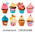set of cute cakes for the... | Shutterstock . vector #1581831088