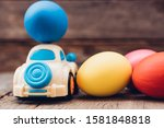 Easter Egg And Toy Car On...
