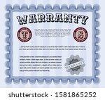 blue warranty certificate...   Shutterstock .eps vector #1581865252