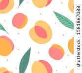 peaches hand drawn seamless... | Shutterstock .eps vector #1581867088