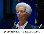 Small photo of Brussels, Belgium. 2nd December 2019. European Central Bank (ECB) President Christine Lagarde arrives to testify before the European Parliament's Economic and Monetary Affairs Committee.
