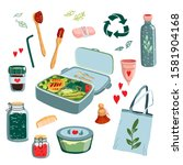 zero waste concept set with... | Shutterstock .eps vector #1581904168
