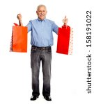 senior man with shopping bags... | Shutterstock . vector #158191022