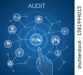 audit concept  blue background. ...