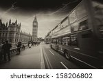 Storm In London With Red Bus...