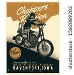 man riding a chopper motorcycle | Shutterstock .eps vector #1582089202