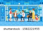 many people on train with their ... | Shutterstock .eps vector #1582221955