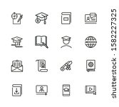 Online Learning Line Icon Set....
