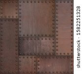 Small photo of Steam punk or steampunk rusty armor metal background. Mixed media.