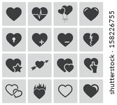 Stock vector vector black hearts icons set 158226755