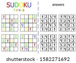 sudoku puzzle for kids. simple... | Shutterstock . vector #1582271692