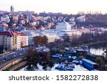 Vltava River At Sunset View...