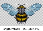 honey bee tattoo. bee with blue ... | Shutterstock .eps vector #1582334542