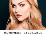 blonde with long hair looking... | Shutterstock . vector #1582412602