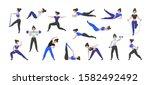 fitness workout. cartoon woman... | Shutterstock .eps vector #1582492492